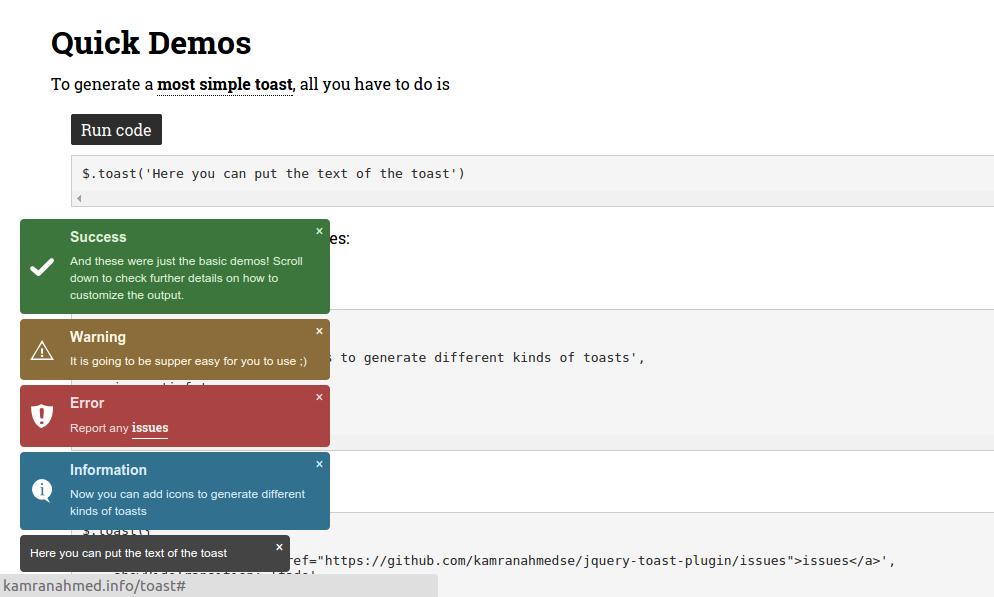 GitHub - kamranahmedse/jquery-toast-plugin: Highly