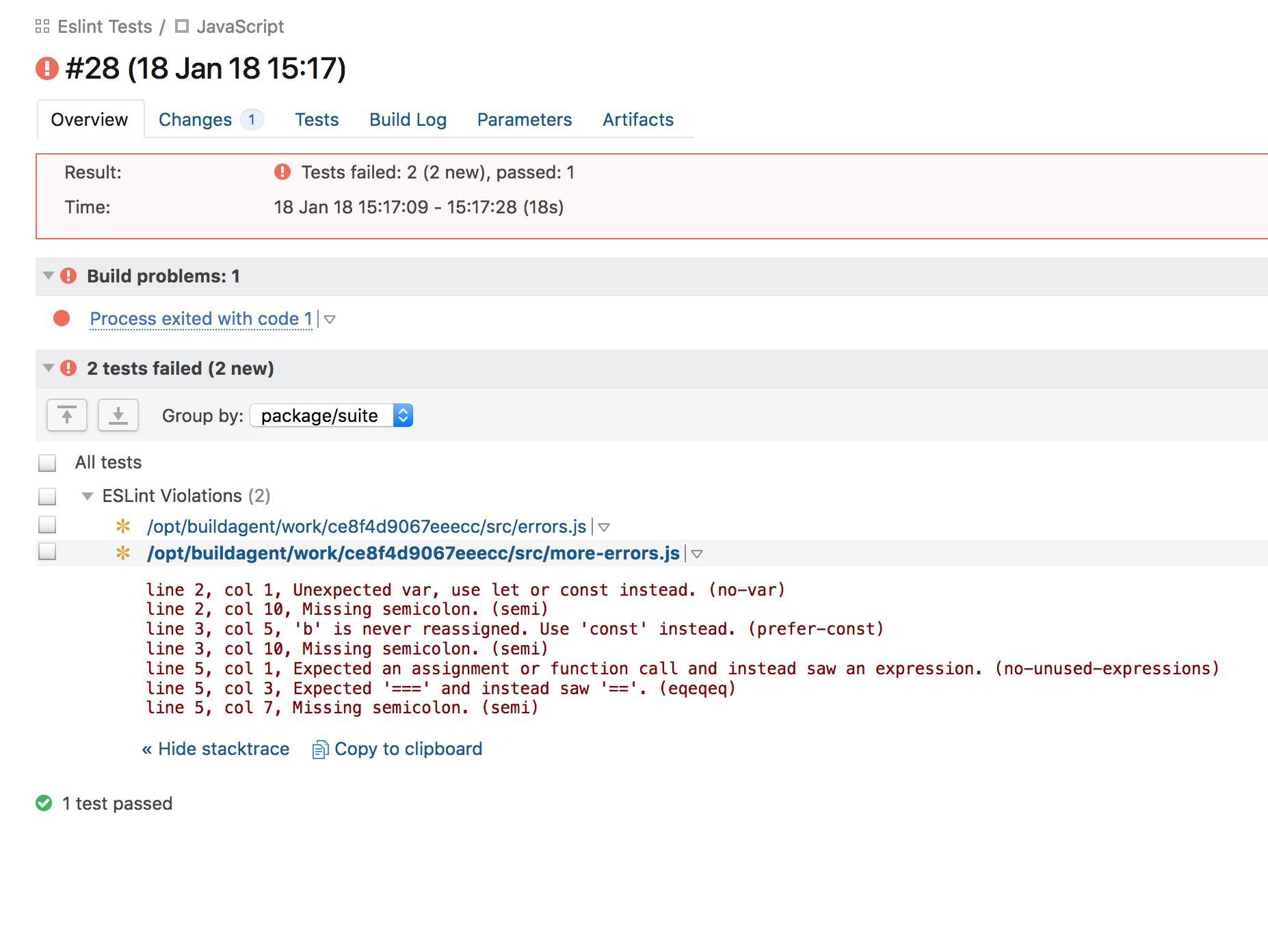 Example Errors Report