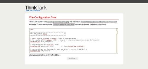 ThinkUp Install Error Page (File Configuration Error)