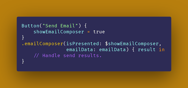 EmailComposer code snippet