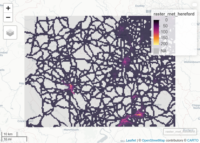 Estimates of distance cycled per year (thousand km per year of cycle commuting distance) passing through each 500 m grid cell, based on analysis of Census data on the route network from the PCT, for a rural area (Herefordshire, left) and an urban area (London, right).
