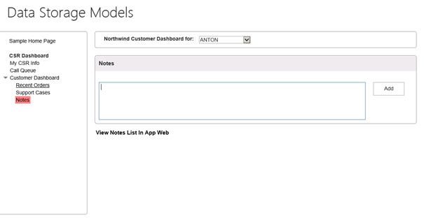The Data Storage models page, with customer dashboard expanded, highlighting Notes.