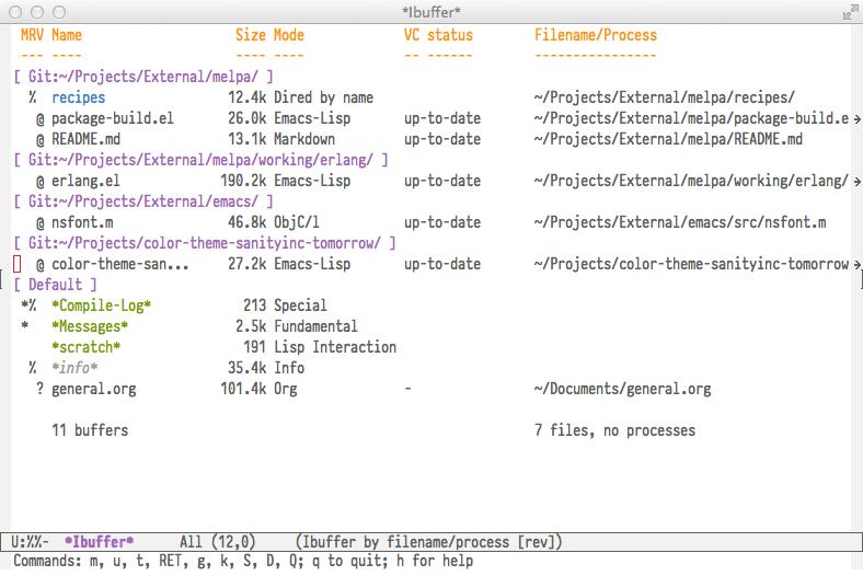 ibuffer-vc screenshot
