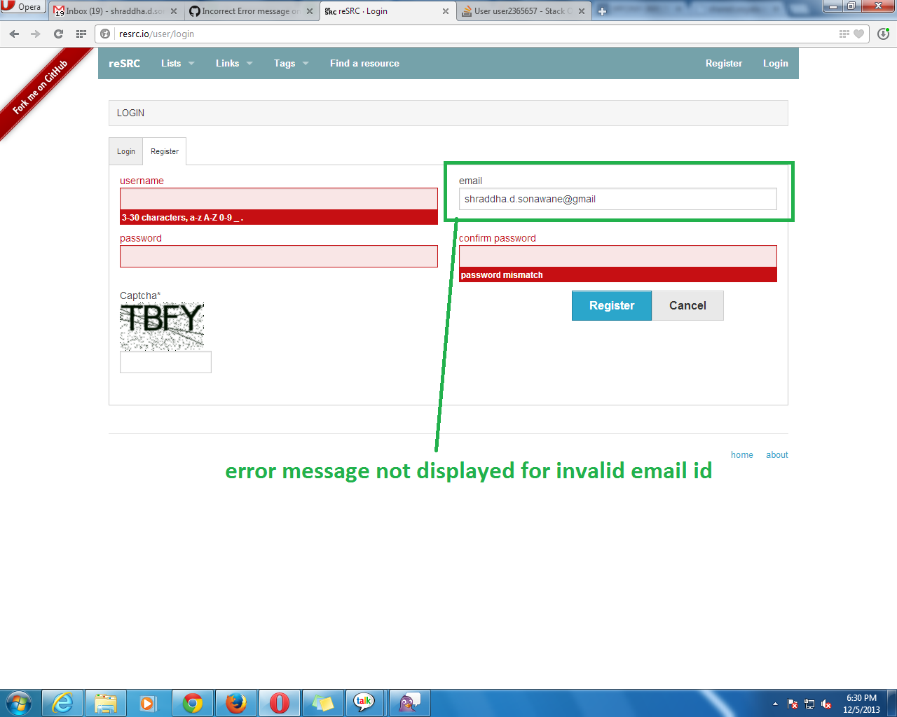 Error message not displayed for invalid email id format