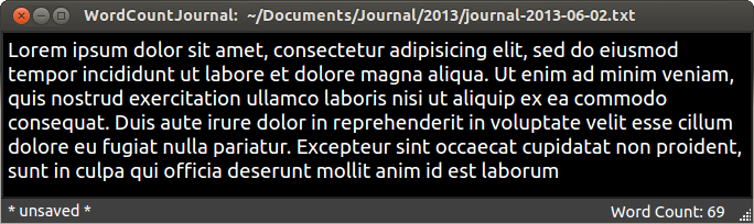 WordCountJournal screenshot