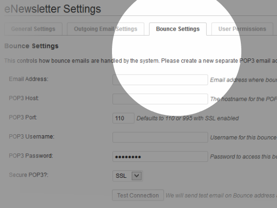 Bounce Settings – how to handle the emails that get bounced back.