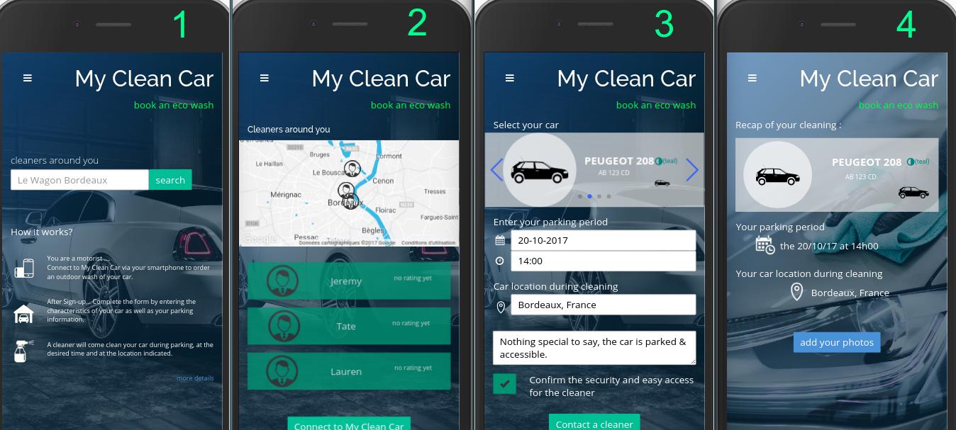 My Clean Car interface