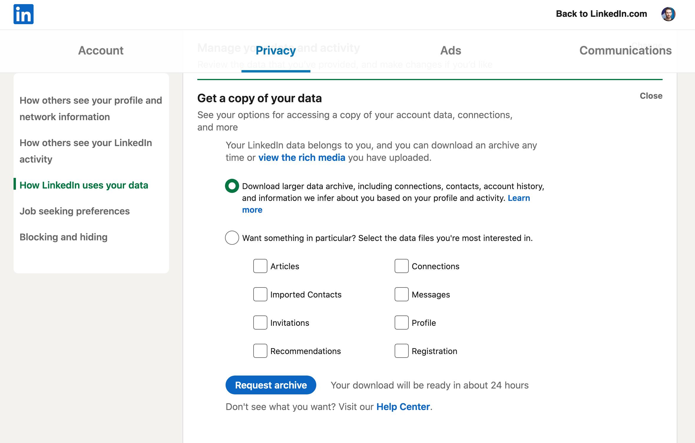 Screenshot of LinkedIn Data Export
