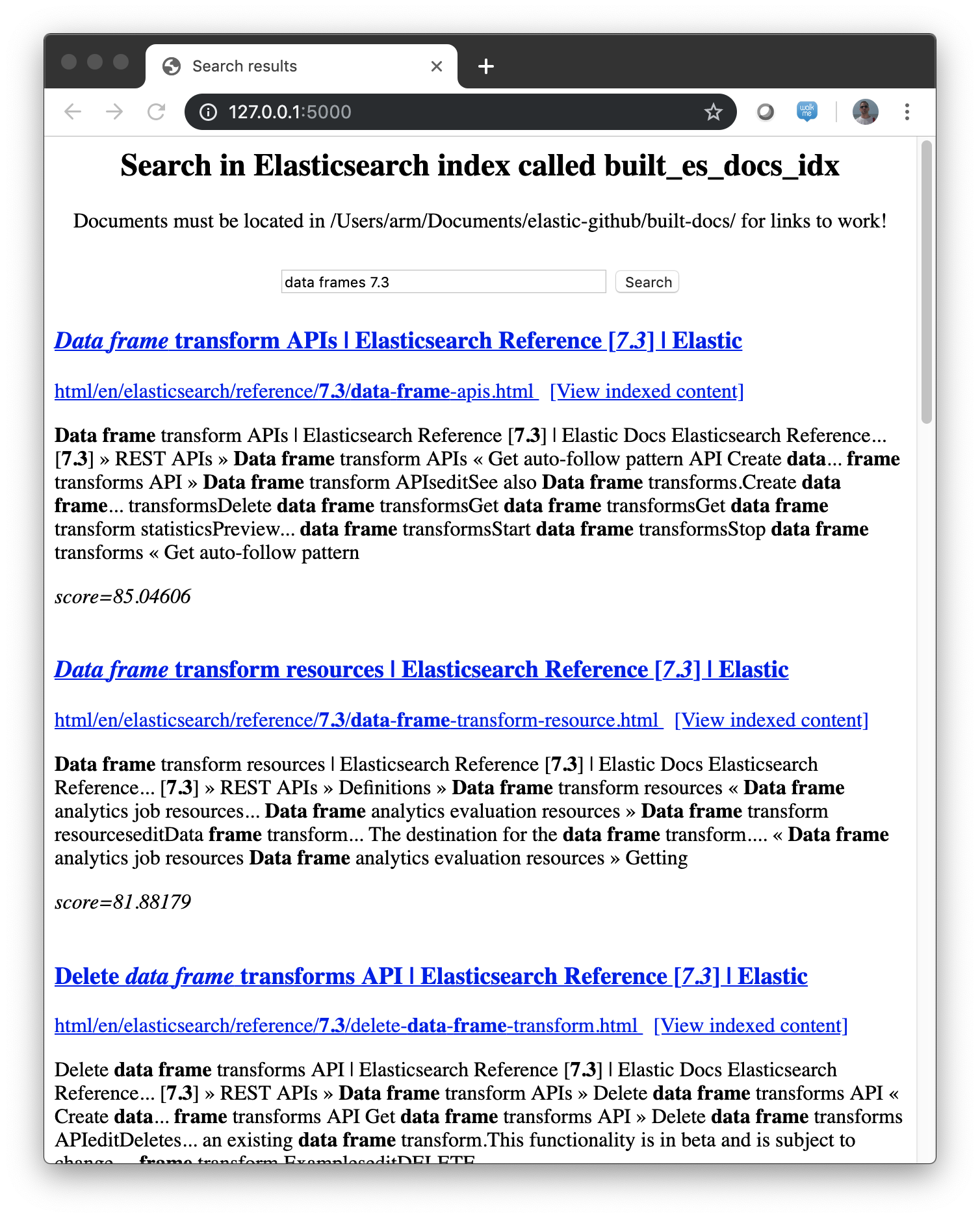 ES Local Indexer screenshot