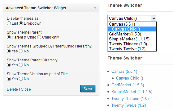 Enable your users to easily switch themes with a simple widget.