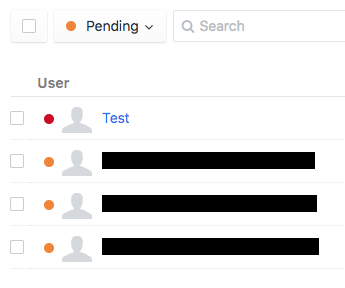 Screenshot of 'Pending' status filter applied on Users