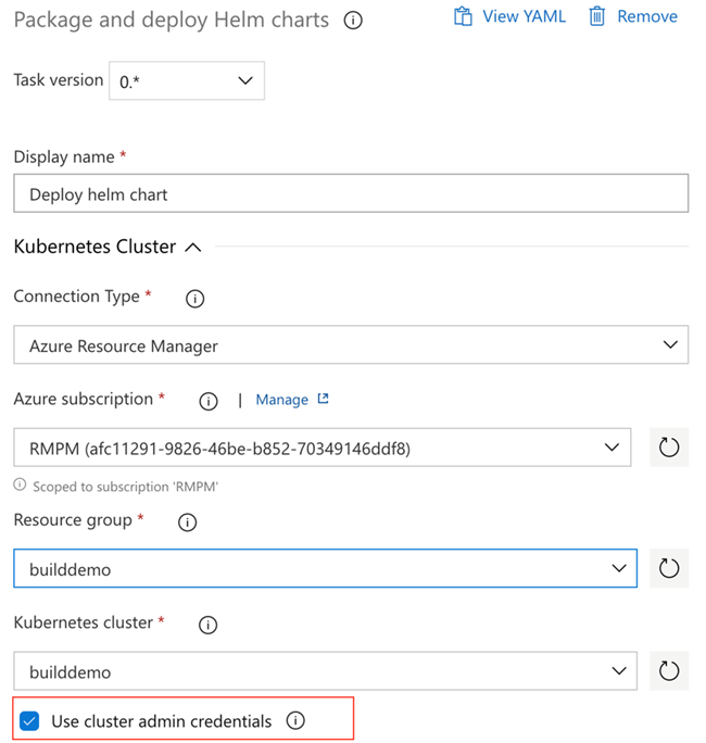 Package and deploy Helm charts showing the use cluster admin credentials checkbox