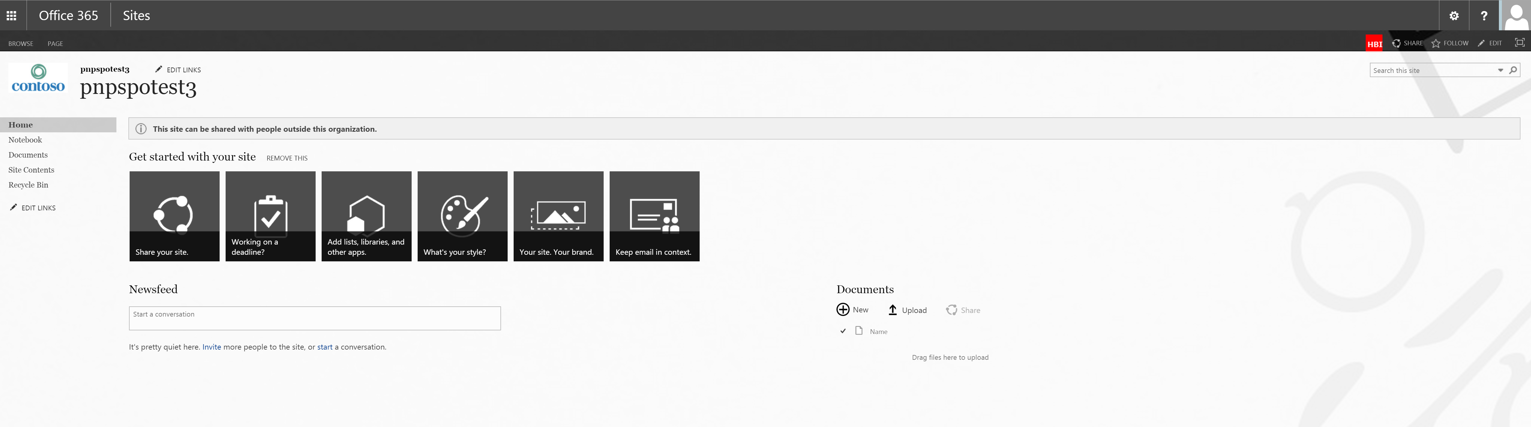 External sharing notification banner shown in team site