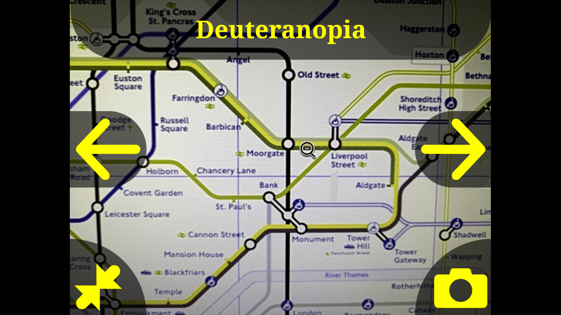Viewing the London Underground map with the deuteranopia filter