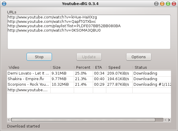 Youtube-dl-gui main window