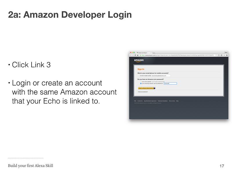 Step 2a: Amazon Developer Login