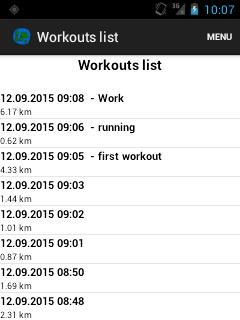 Alt Workouts list
