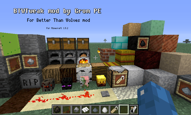 Screenshot of BTWTweak showing most of the new blocks and items