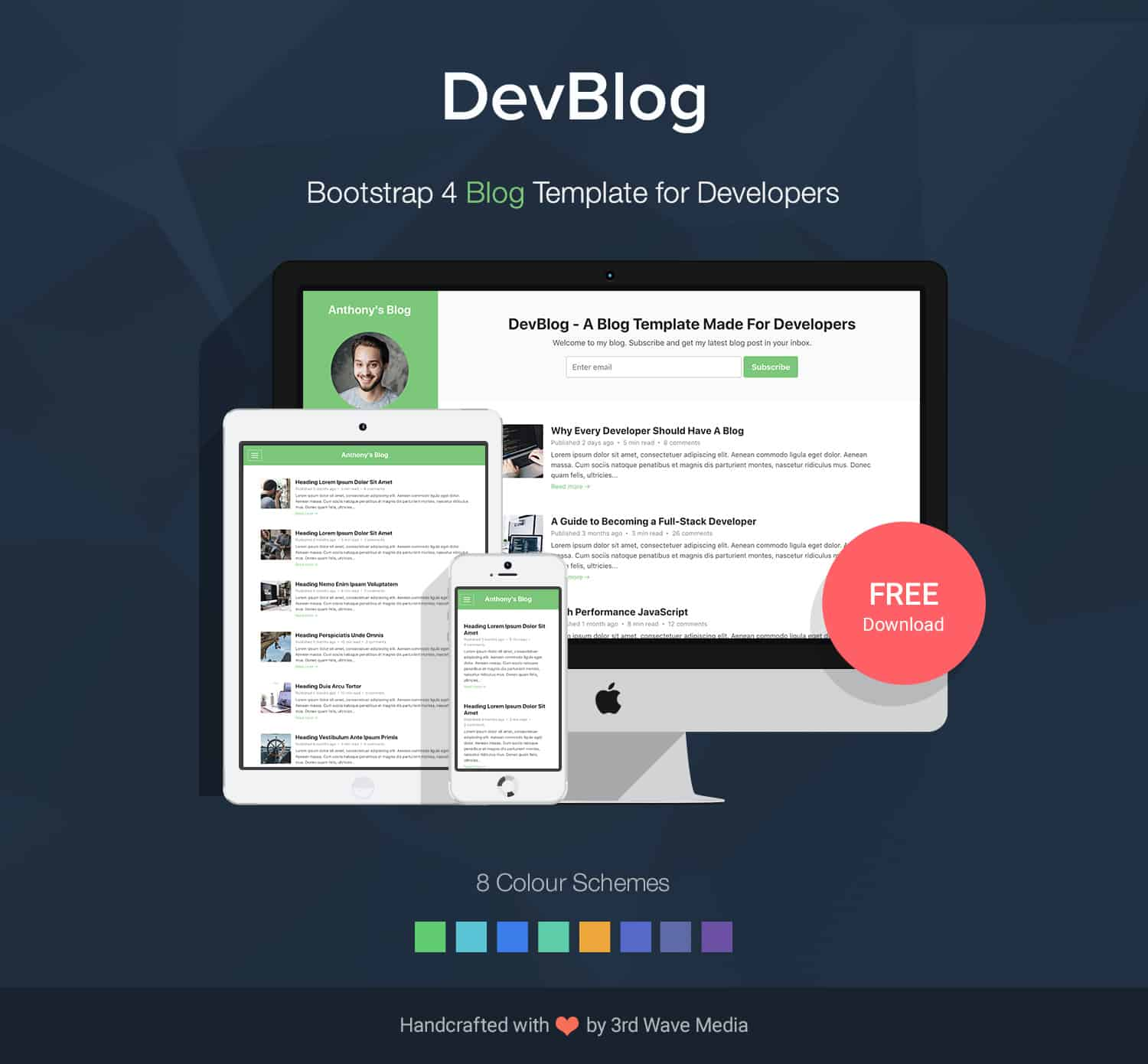 Bootstrap 4 Blog Template for Developers