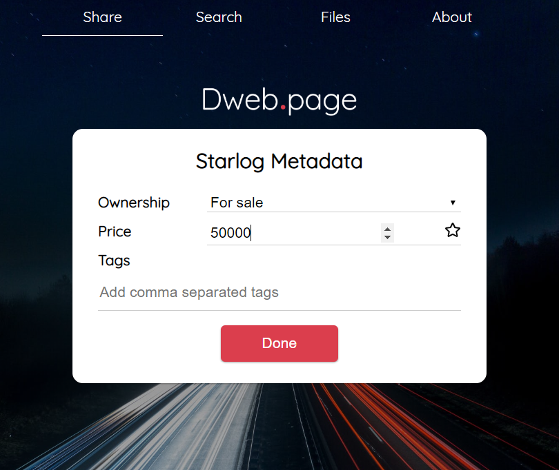 Dweb.page + Starlog upload