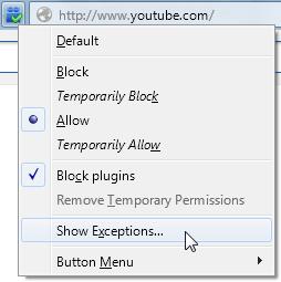 Button's context menu