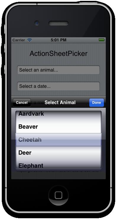 ActionSheetPicker