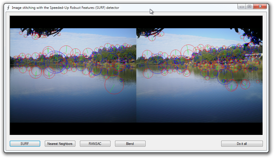 Image stitching using SURF features and k-nearest neighbor matching.