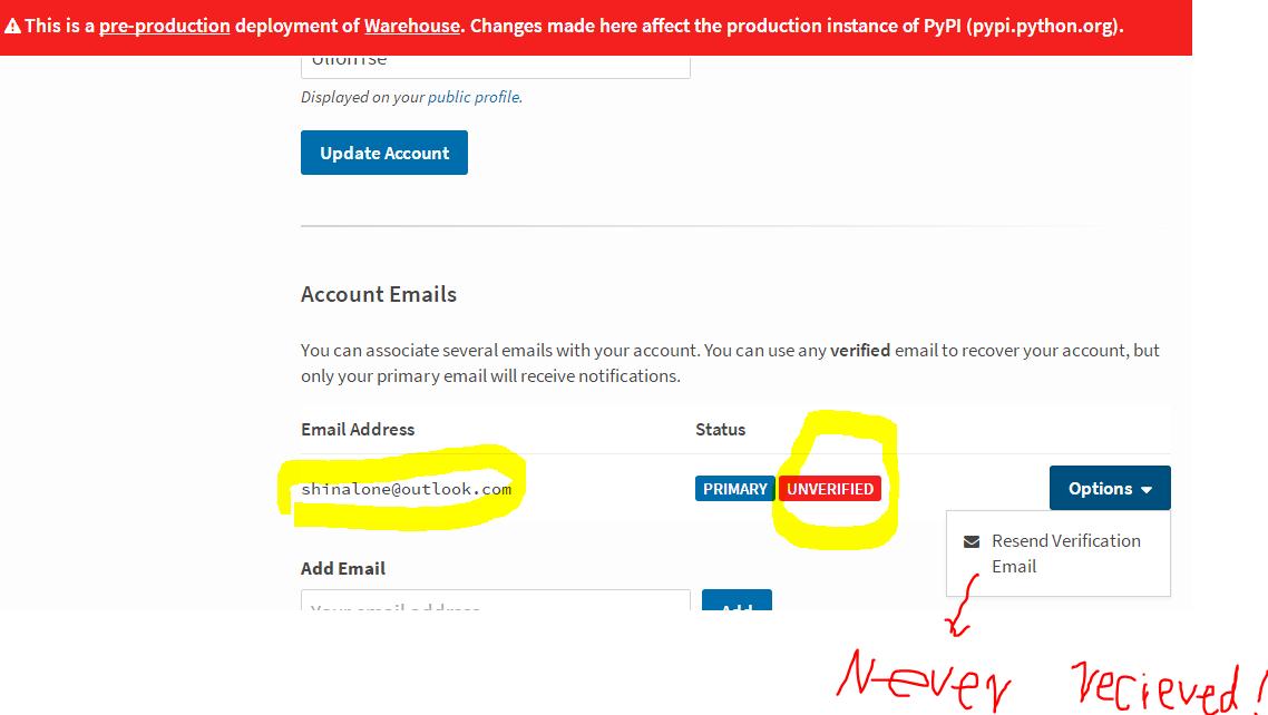 HTTPError: 400 client Error: user 'x' has no verified email