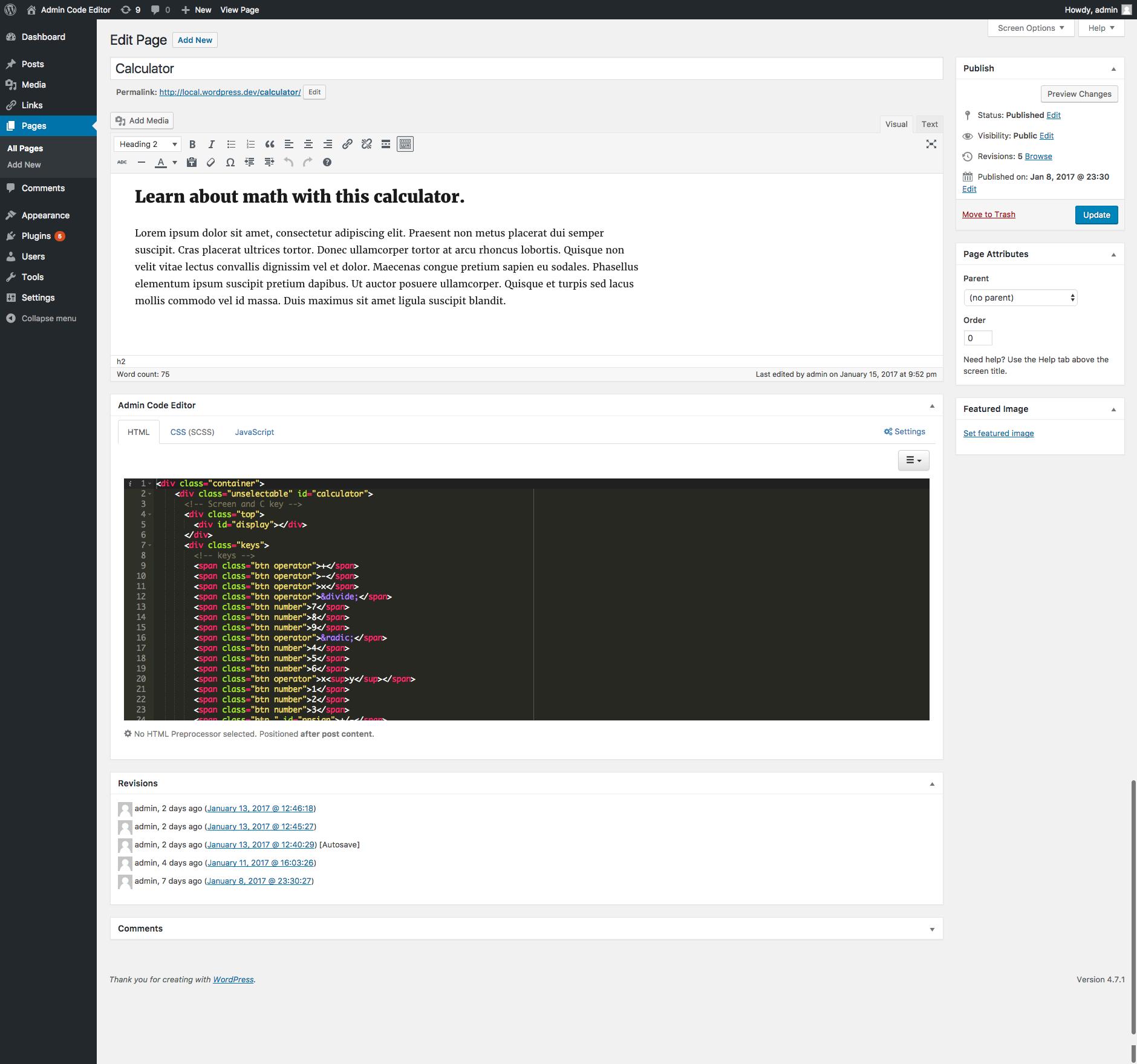 The Admin Code Editor HTML Editor.
