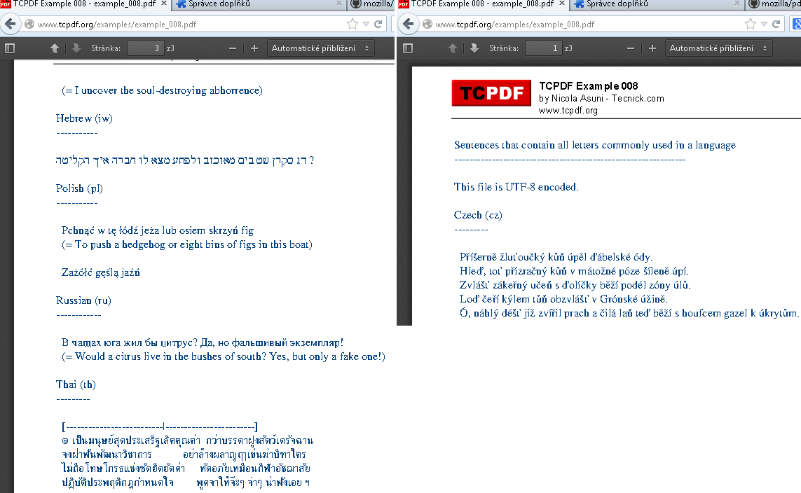 rendered pdf with tcpdf not showing utf-8 in pdf viewer