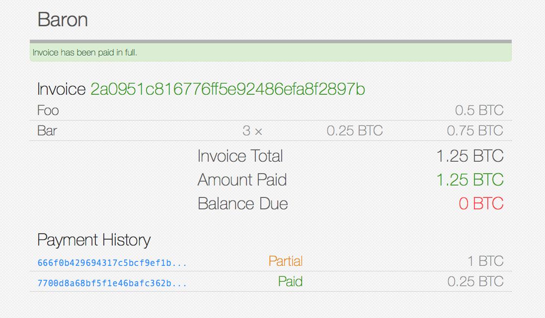 Partial Payment Screenshot