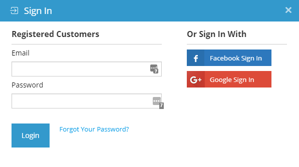 Login form to Download the Package