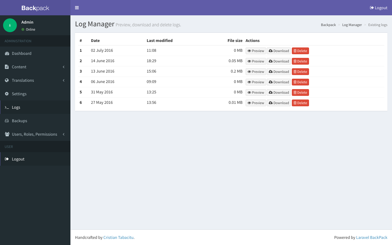 LogManager interface