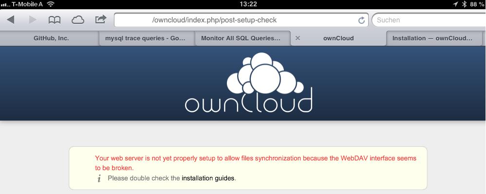 Fresh Install: Message - WebDav interface seems to be broken