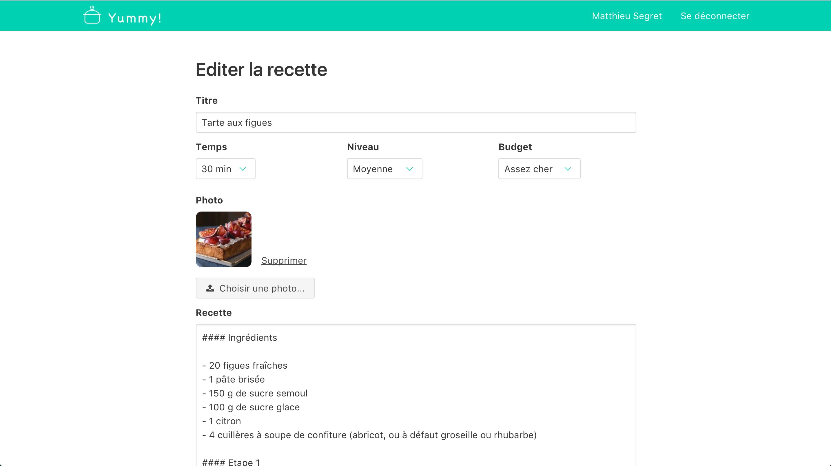 Editing recipe