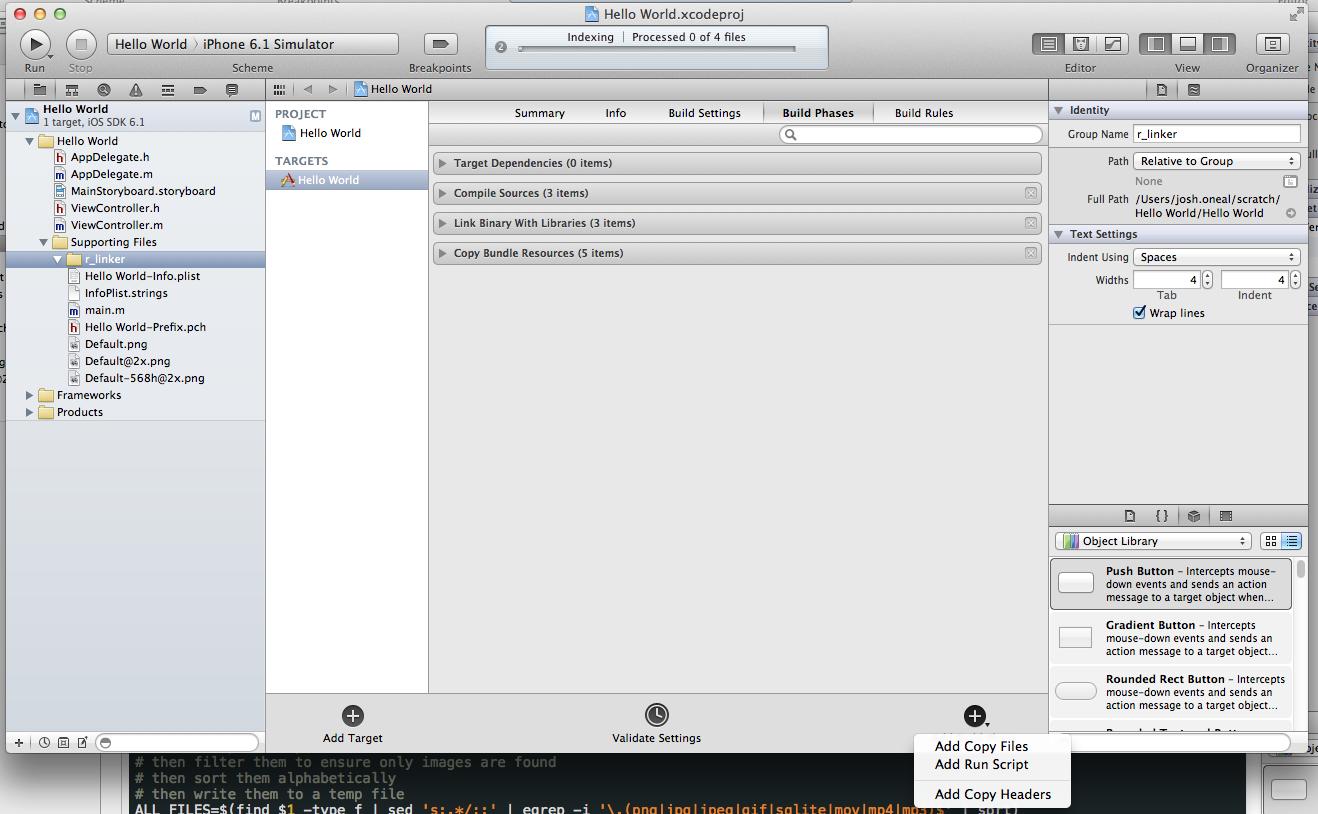 Add r_linker.sh to Xcode