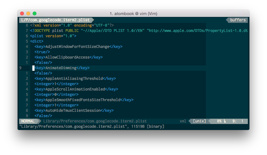 Screenshot of vim-plist in action