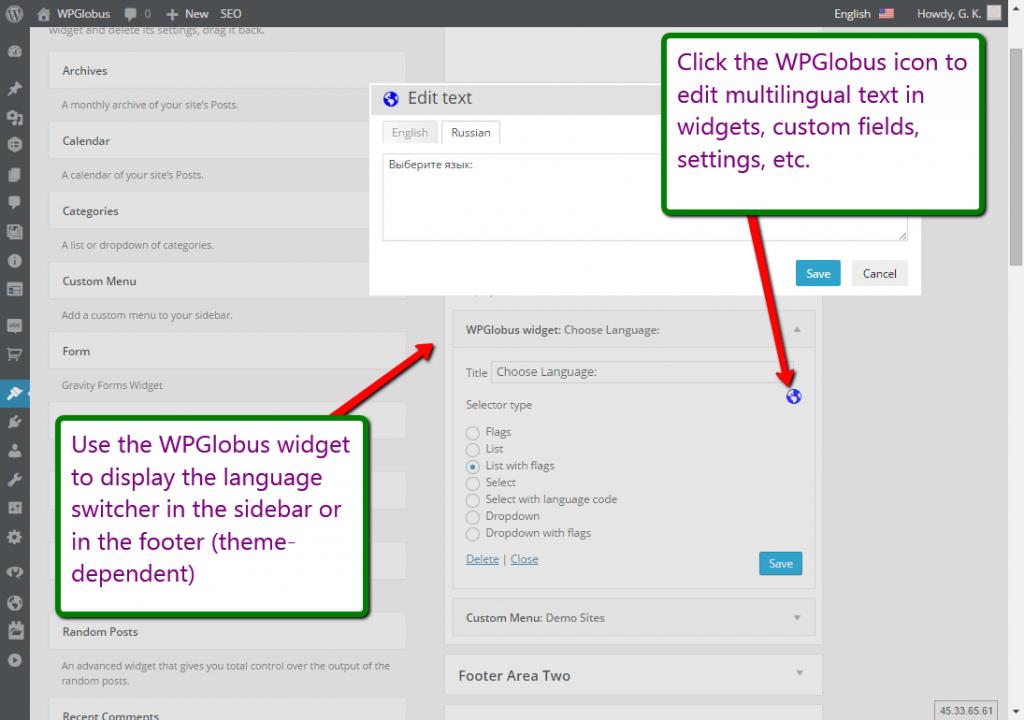 Language Switcher widget and Multilingual Editor dialog.