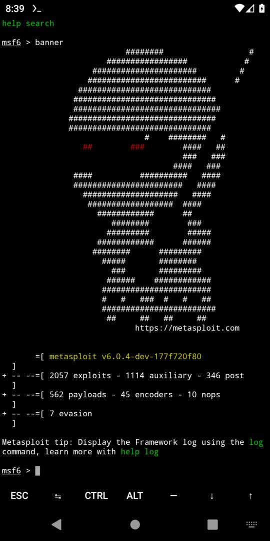 Metasploit 6 running