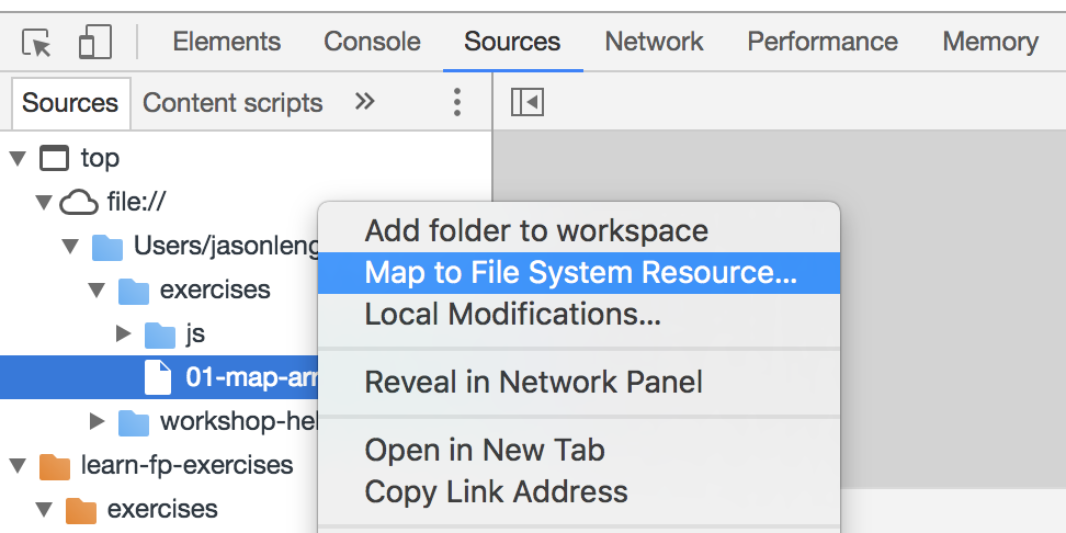 DevTools map to file system resource
