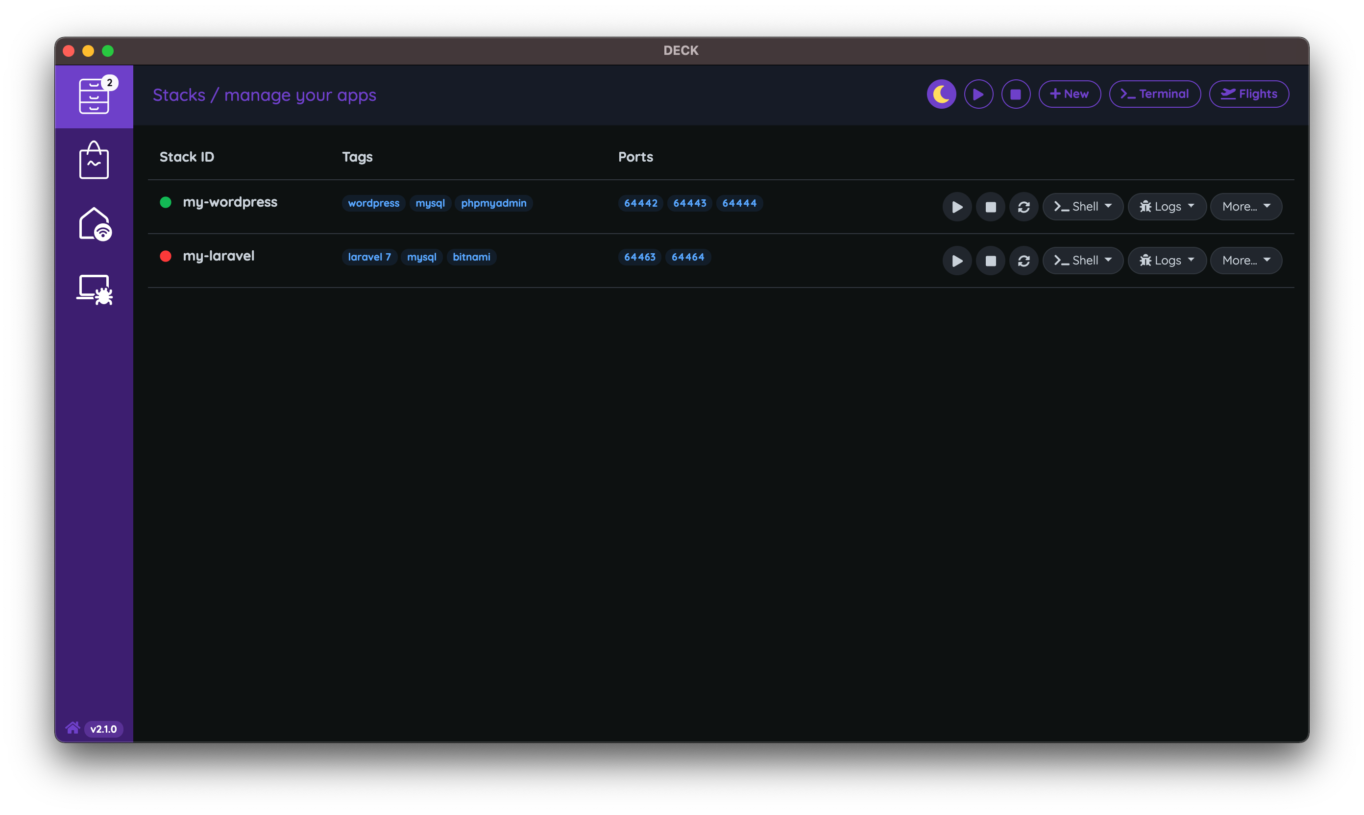DECK Dark Mode Screenshot