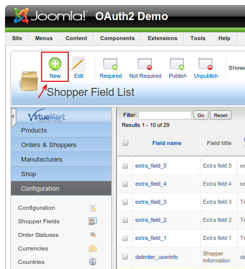 Adding new fields for OAuth2 Joomla Component