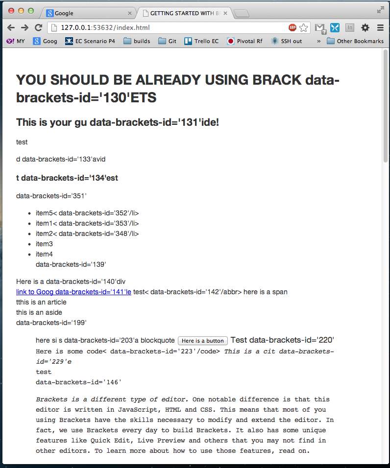 LiveHTML] data-brackets-id code shows up in Chrome · Issue