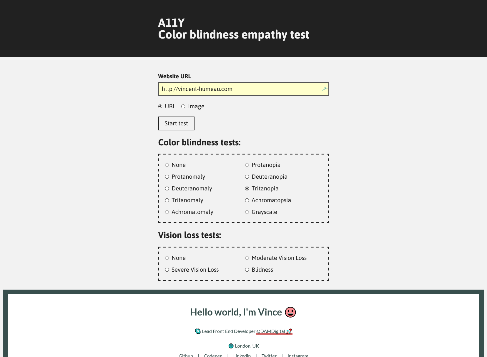Screenshot of A11Y Color Blindness Empathy Test