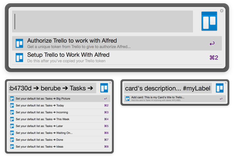 Trello for Alfred Workflow Screenshot