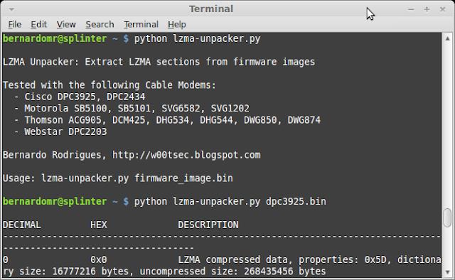GitHub - bmaia/lzma-unpacker: Extract LZMA sections from cable modem