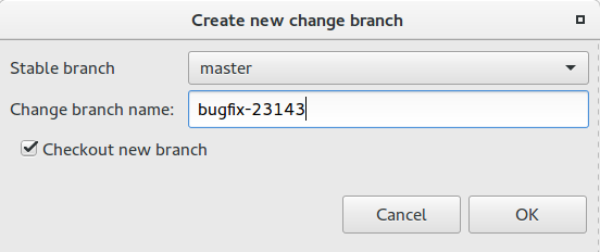 Create Change Branch Dialog