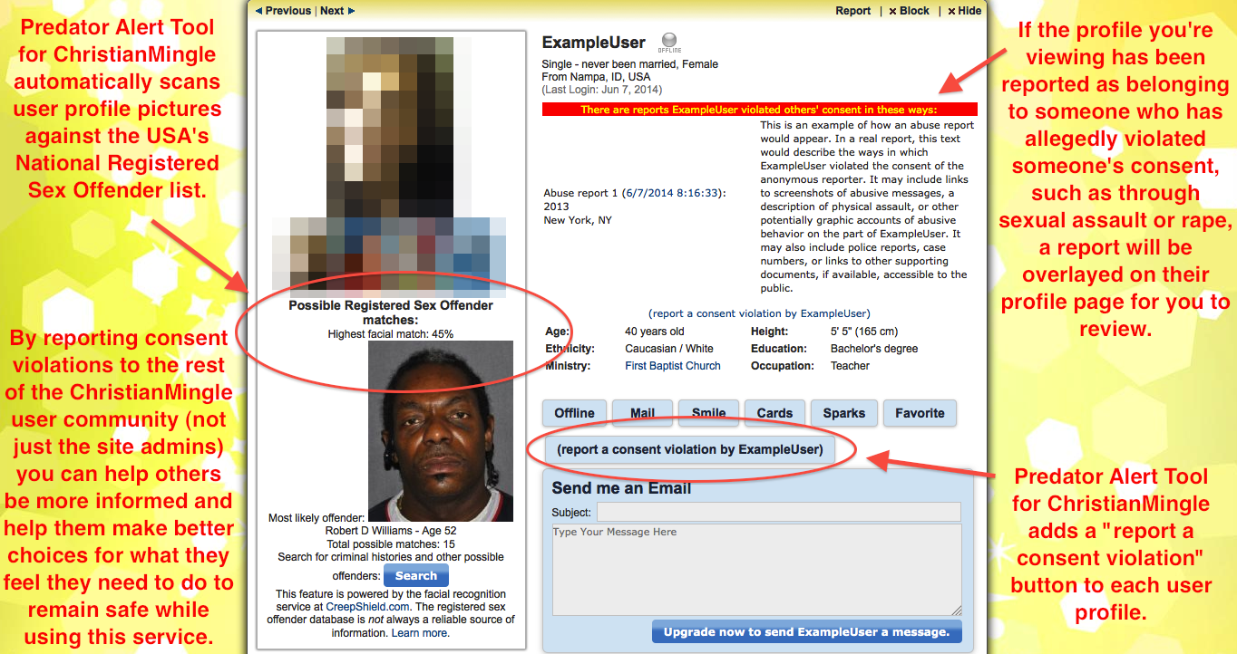 Screenshot of ChristianMingle profile picture used as CreepShield.com search.