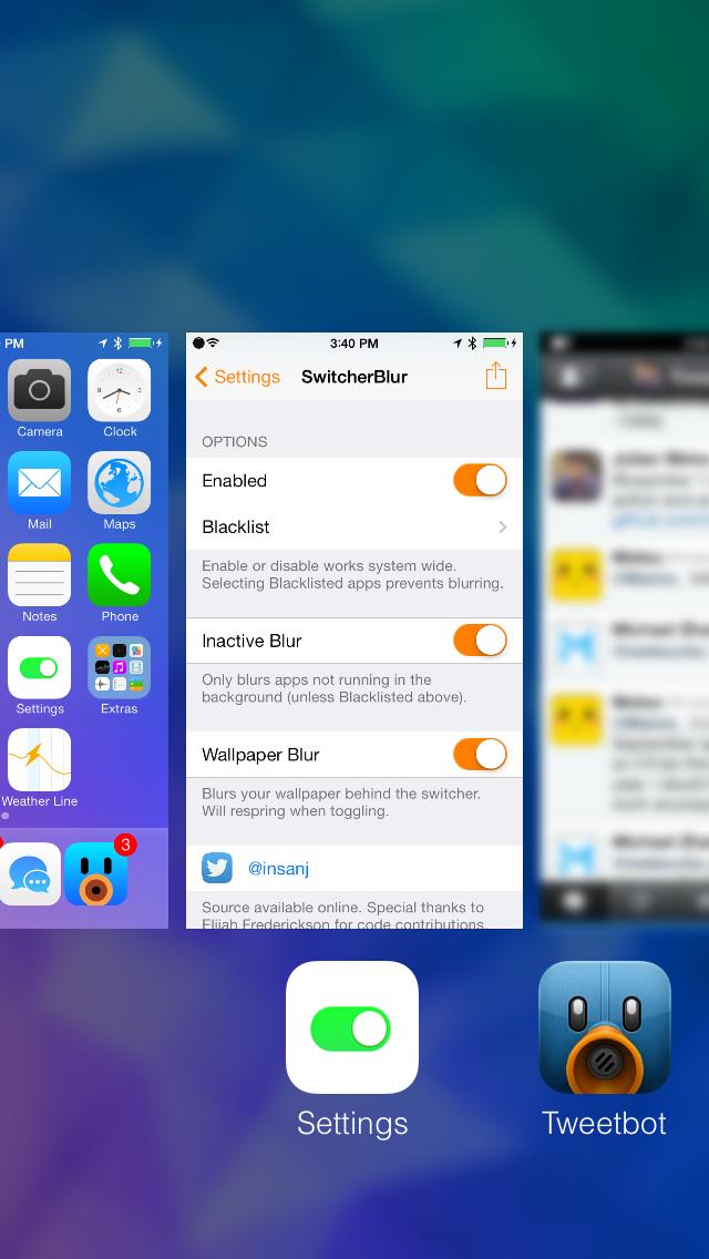Gaussian Blur your app snapshots
