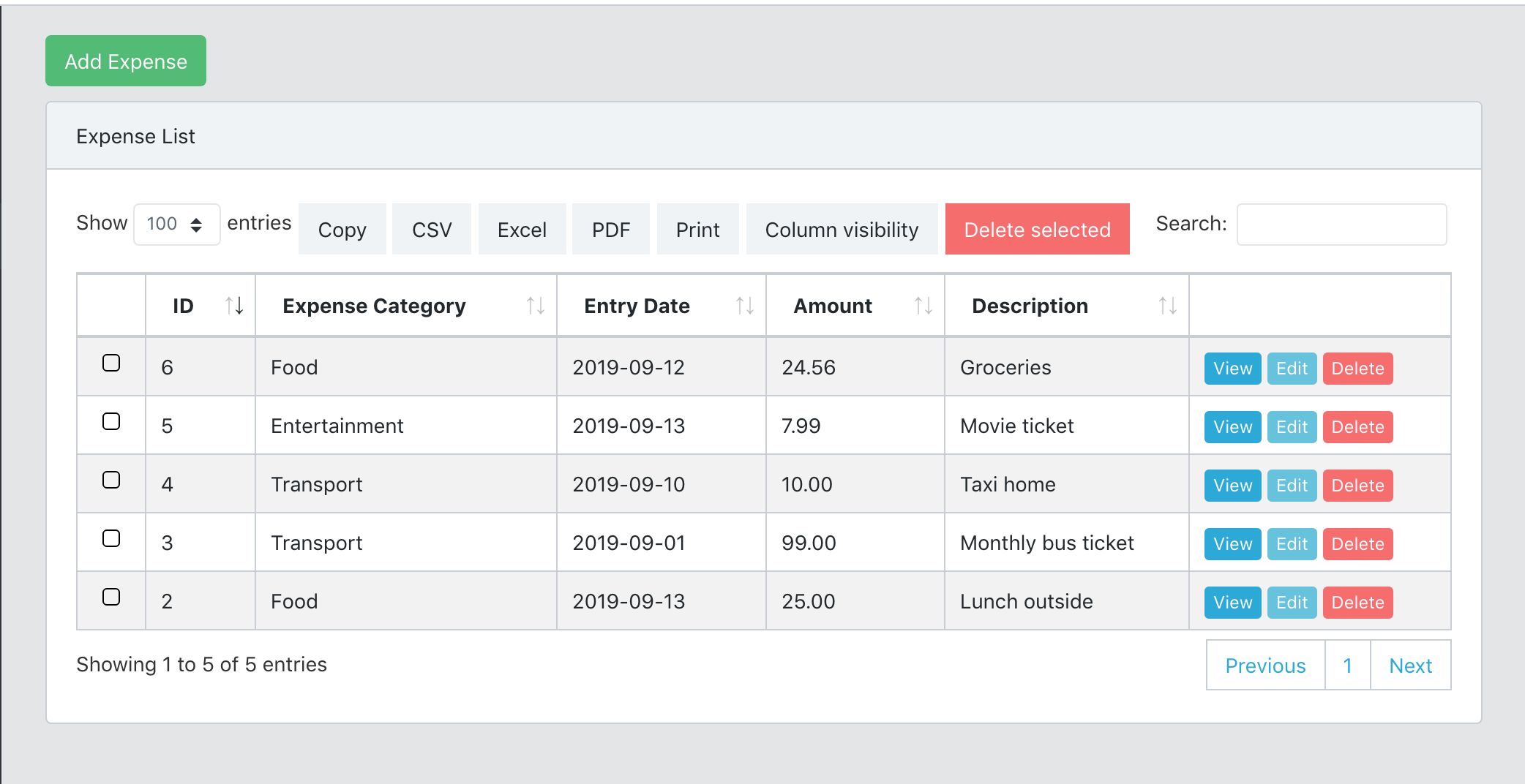 Expense manager screenshot currency